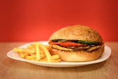 Hamburguesa del pollo con las patatas fritas Imagen de archivo libre de regalías