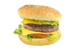 Hamburguesa, hamburguesa del queso de la carne de vaca con el tomate Fotografía de archivo libre de regalías
