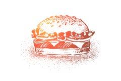 Hamburguesa deliciosa, comida clásica de la calle, bollos del sésamo con, chuleta, ensalada, tomate y queso asados a la parrilla stock de ilustración