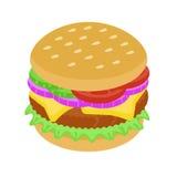 Hamburguesa deliciosa con la cebolla y la carne ilustración del vector