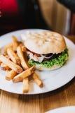 Hamburguesa deliciosa con las fritadas Imagen de archivo