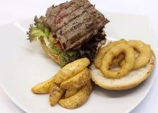 Hamburguesa deliciosa del filete Fotos de archivo libres de regalías
