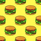 Hamburguesa dibujada mano Modelo inconsútil con la hamburguesa del garabato en fondo amarillo stock de ilustración