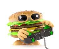 hamburguesa divertida de la carne de vaca de la historieta 3d que juega a un videojuego Fotografía de archivo libre de regalías