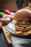 Hamburguesa doble de la carne/del queso del doble Imagen de archivo libre de regalías