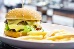 Hamburguesa doble del queso Imagen de archivo