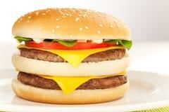 Hamburguesa doble del queso Imagenes de archivo
