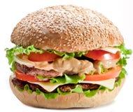 Hamburguesa en blanco Foto de archivo