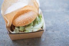 Hamburguesa en caja Foto de archivo libre de regalías