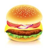 Hamburguesa en el ejemplo blanco del vector Imagen de archivo libre de regalías