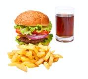Hamburguesa, fritadas y cola Fotografía de archivo