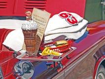 Hamburguesa, fritadas, y una sacudida de chocolate Foto de archivo