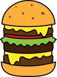Hamburguesa grande coloreada del icono con la ensalada y queso y chuleta ilustración del vector