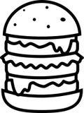 Hamburguesa grande del icono con la ensalada y queso y chuleta ilustración del vector