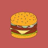 hamburguesa Han-dibujada del historieta-estilo Imagen de archivo libre de regalías