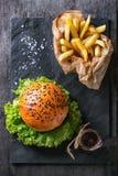Hamburguesa hecha en casa con las patatas fritas Imagen de archivo