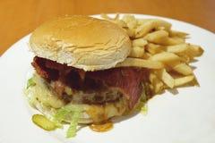 Hamburguesa hecha en casa con las patatas fritas Imagen de archivo libre de regalías