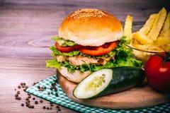 Hamburguesa hecha en casa deliciosa con la ensalada y las especias frescas Fotos de archivo libres de regalías
