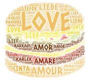 Hamburguesa ilustrada con palabra del amor Foto de archivo