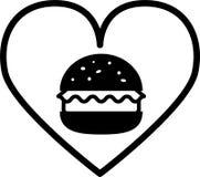 Hamburguesa negra del amor del icono con la ensalada y la tajada stock de ilustración