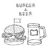 Hamburguesa o cheeseburger y taza o pinta grande de cerveza Letras de la hamburguesa Aislado en un fondo blanco Garabato realista Fotografía de archivo libre de regalías