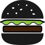Hamburguesa partida coloreada del negro del icono con lechuga y tajada stock de ilustración