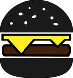 Hamburguesa partida coloreada del negro del icono con queso y tajada stock de ilustración