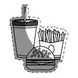 hamburguesa, patatas fritas y alimentos de preparación rápida de la soda Imagen de archivo libre de regalías
