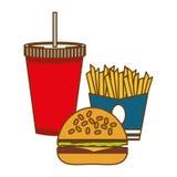 hamburguesa, patatas fritas y alimentos de preparación rápida de la soda Imagenes de archivo