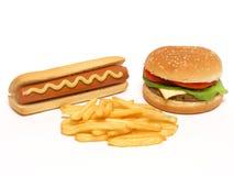 Hamburguesa, perrito caliente y patatas fritas foto de archivo libre de regalías