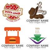 Hamburguesa, pizza, café, logotipo del concepto del café Fotografía de archivo libre de regalías