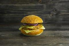 Hamburguesa real jugosa con la cebolla Fotos de archivo