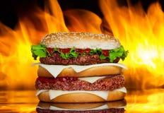Hamburguesa sobre el fuego Foto de archivo