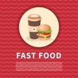Hamburguesa y café a ir cartel Imagen coloreada linda de los alimentos de preparación rápida Elementos del diseño gráfico para el Imagen de archivo libre de regalías
