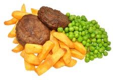 Hamburguesa y Chips Meal de la carne de vaca Fotografía de archivo libre de regalías