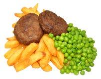 Hamburguesa y Chips Meal de la carne de vaca Imágenes de archivo libres de regalías