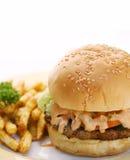 Hamburguesa y fritadas Fotografía de archivo