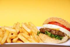 Hamburguesa y fritadas Imagen de archivo