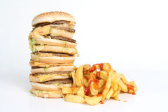 Hamburguesa y fritadas Foto de archivo