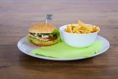 Hamburguesa y fritadas Fotos de archivo libres de regalías