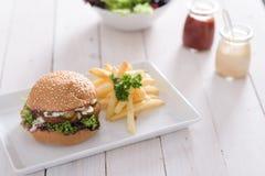 Hamburguesa y fritadas Imagenes de archivo