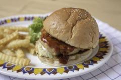 Hamburguesa y fritadas Imágenes de archivo libres de regalías