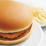 Hamburguesa y fritadas del pollo Imágenes de archivo libres de regalías