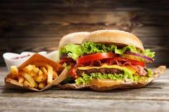 Hamburguesa y fritadas deliciosas Imagenes de archivo