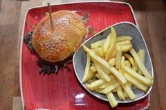 Hamburguesa y fritadas deliciosas Imagen de archivo