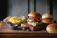 Hamburguesa y patatas fotografía de archivo libre de regalías