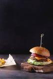 Hamburguesa y patatas imagen de archivo
