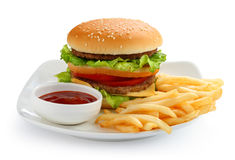 Hamburguesa y patatas fritas Imagen de archivo