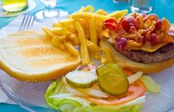 Hamburguesa y patatas fritas de riego de la boca Imagen de archivo