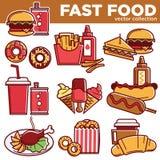 Hamburguesas de las comidas del menú de los alimentos de preparación rápida, bocadillos, iconos planos del vector de los postres  Imagen de archivo